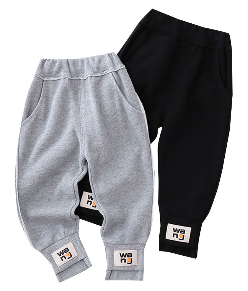 Hopscotch Baby Boys Cotton and Polyester Solid Joggers in Black Color For Ages 12-18 Months (YIH-3114248)