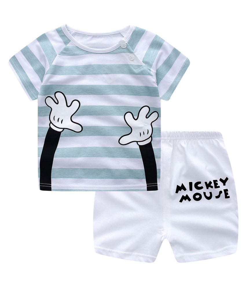 Hopscotch Baby Boys and Baby Girls Cotton Strip Print Half Sleeve T-Shirt And Short in Blue Color For Ages 18-24 Months (TGX-3074875)