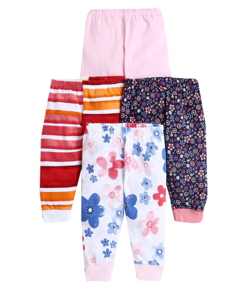 Hopscotch Baby Girls Cotton Prints Joggers Pack Of 4 in Multi Color For Ages 18-24 Months (JJS-3676145)