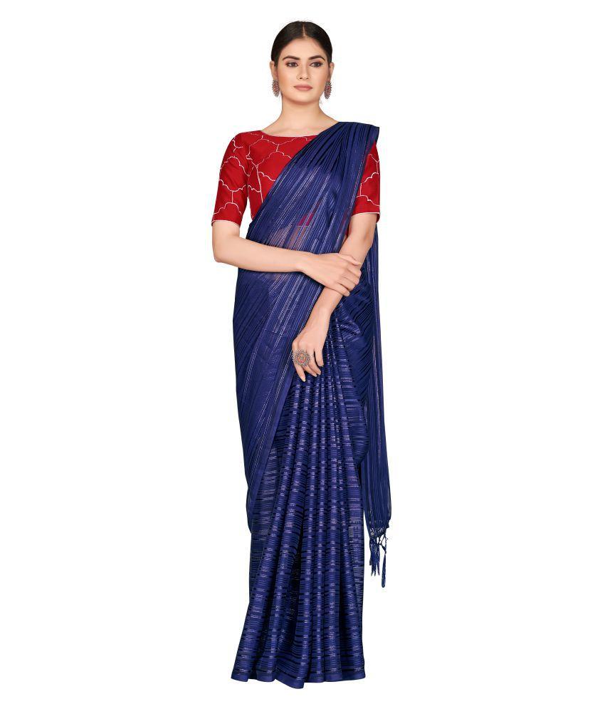 Monjolika Fashion Blue Silk Blends Saree - Pack of 2
