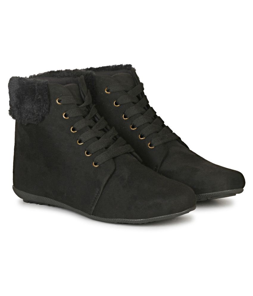 Saheb Black Ankle Length Casual Boots