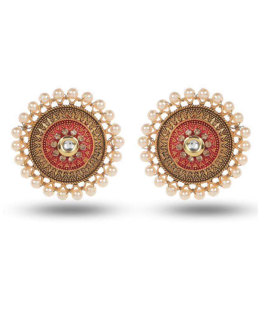 Women's Designer Red Meenakari Kanphool Earrings