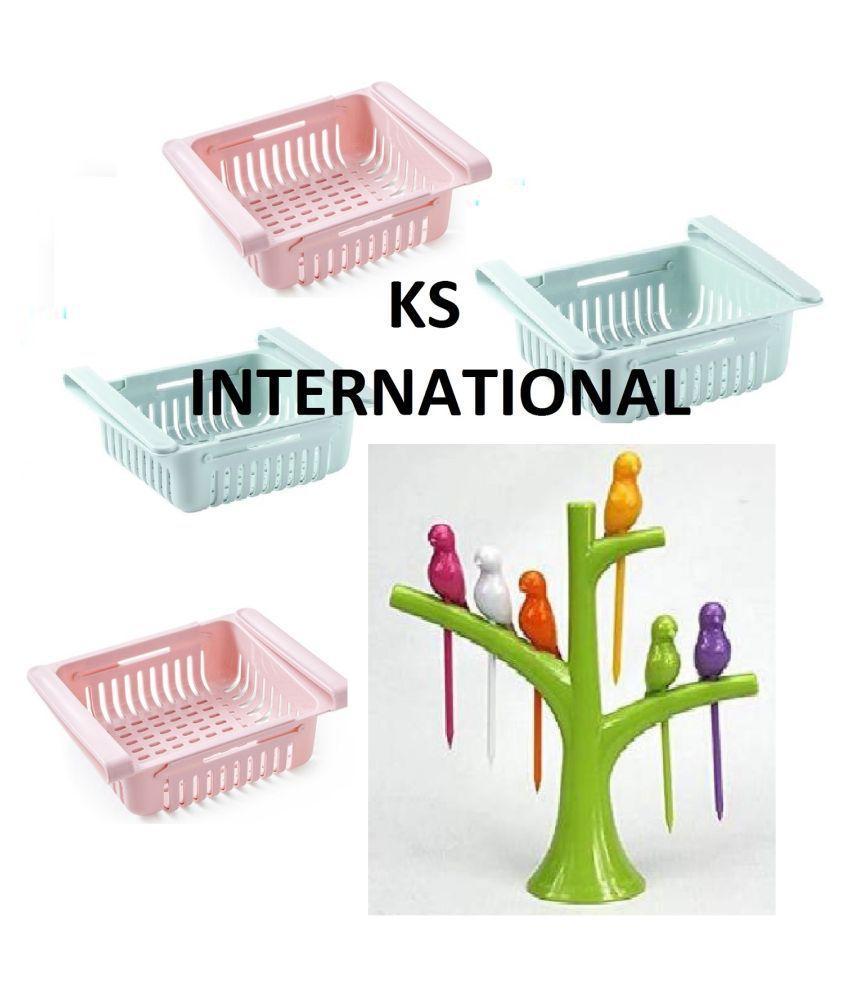 LDL PRODUCTS COMBO OF Fridge Storage Basket Shelf Organizer Rack Space Saver Food Storage AND  Bird Fruit Forks Stick 7pc Set ( PACK OF 2 )