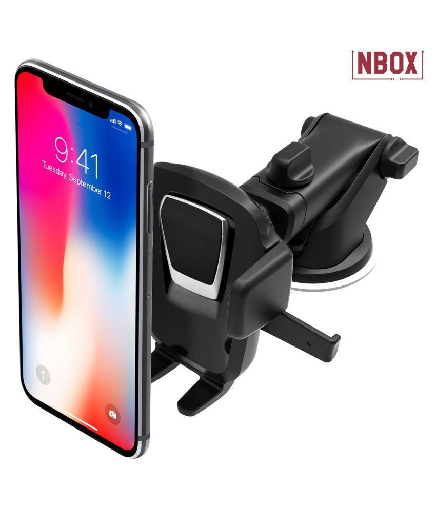 NBOX Car Mobile Holder Horizontal Clip for Dashboard  amp; Windshield   Black