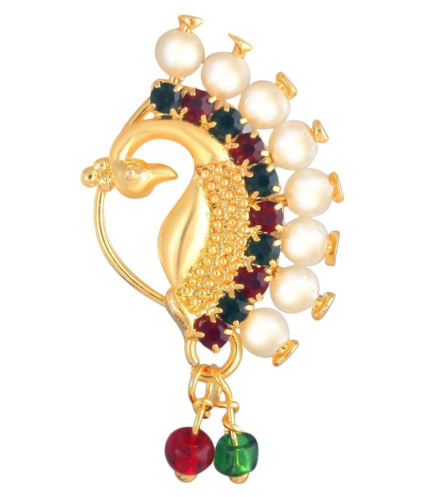 Vighnraj Jewels   Maharashtrian Nath Of Pearl Gold- Plated Brass Nath