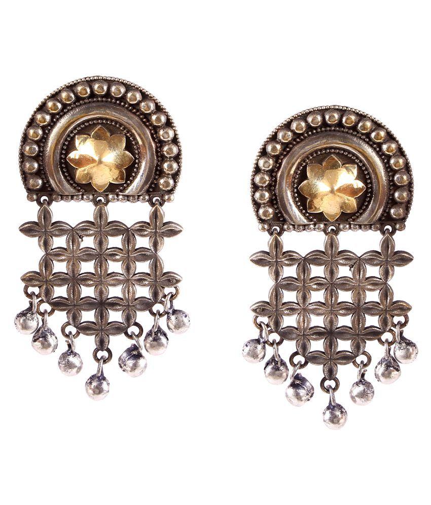 Foxiie Trends Brass Dual Tone Oxidized Dangler Earrings For Women