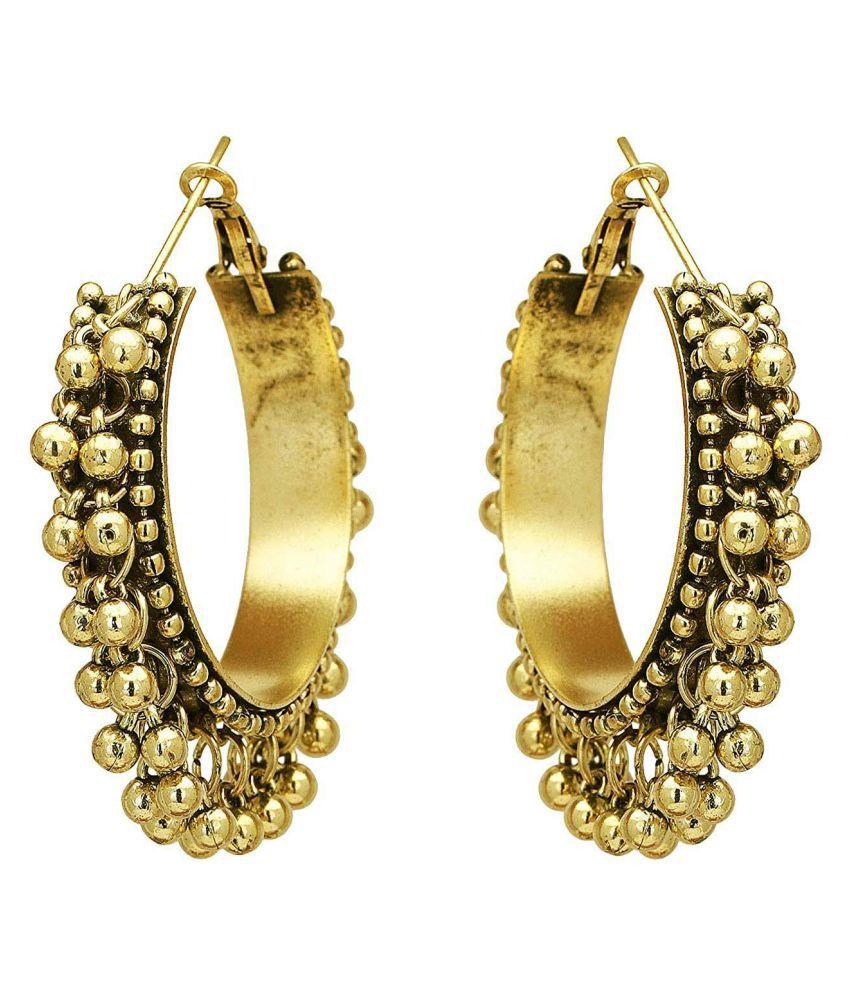 Foxiie Trends Brass Silver Plated Oxidized Hoops Earrings For Women