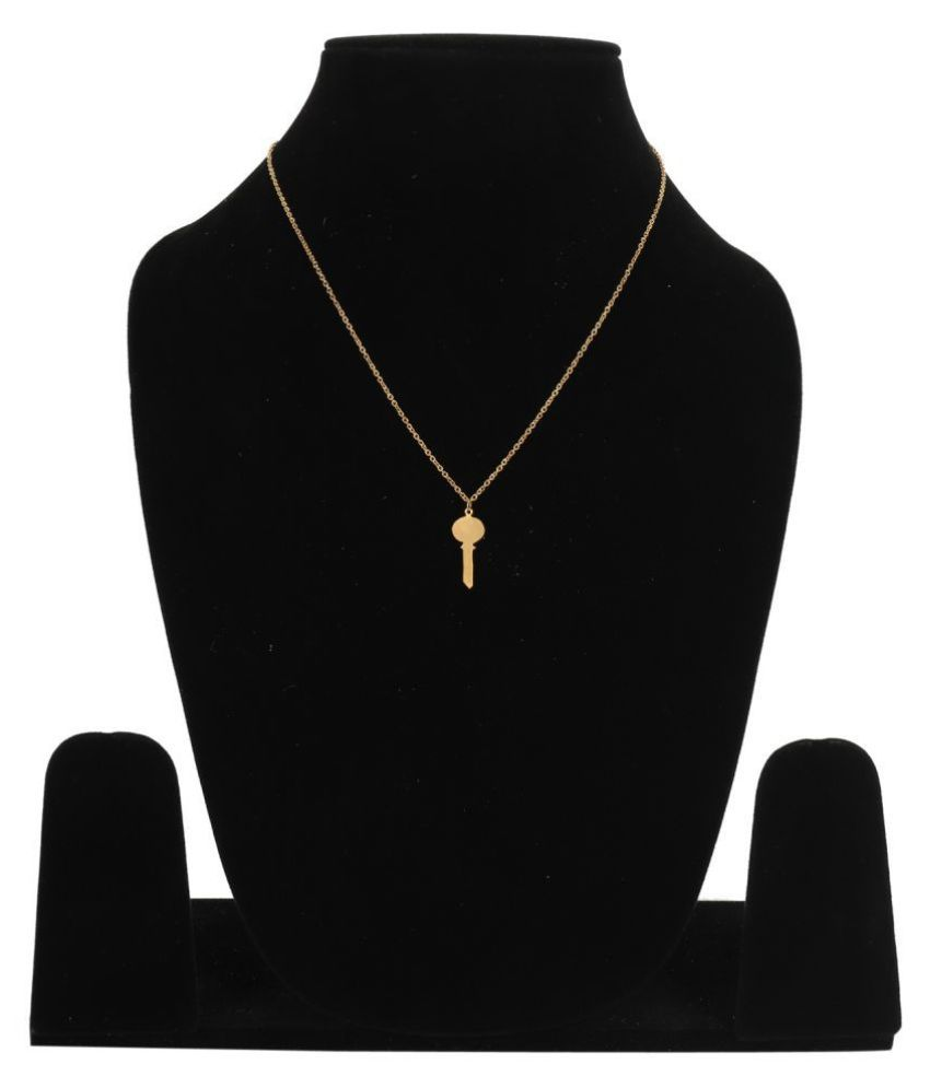 Tiny Key Brass Pendant Charm Necklace Key to My heart Necklace Valentines Gift by GoldNera