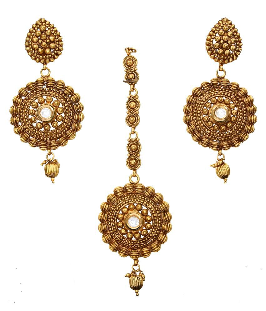 CaratYogi Stunning Royal Round Dangle Earrings Set with Maang Tika Gold Plated Crystal Studded Antique Design Fashion Jewellery for Women Girls Ladies