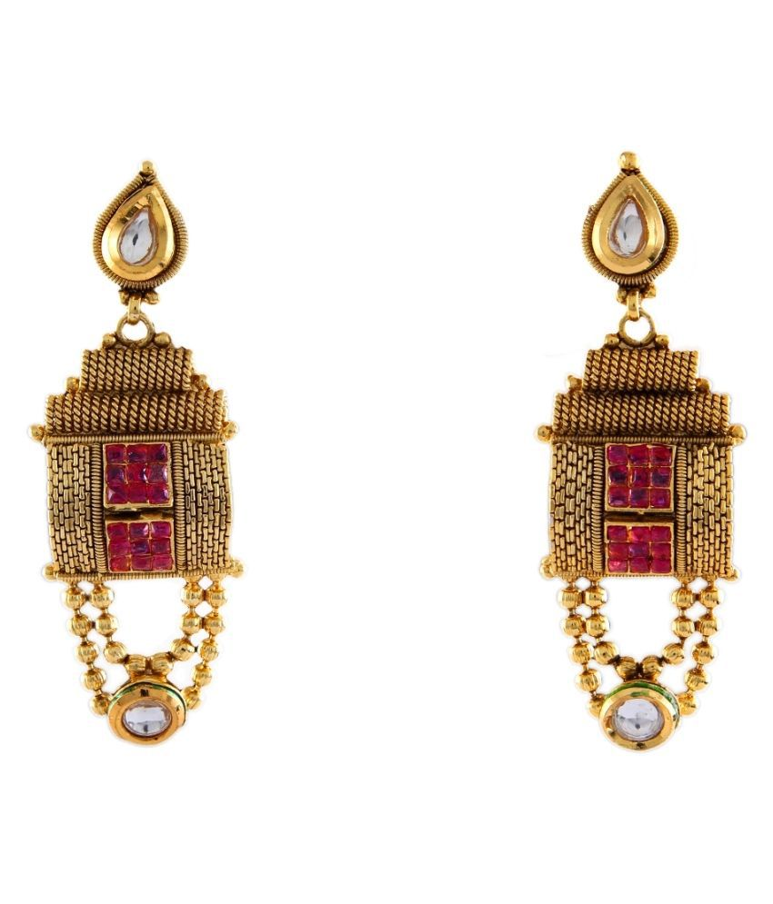 Dangle Earrings Gold Plated Red Ruby Red Ruby Dazzling Dangle Earrings Gold Plated Red Ruby for Women and Girls Dazzling