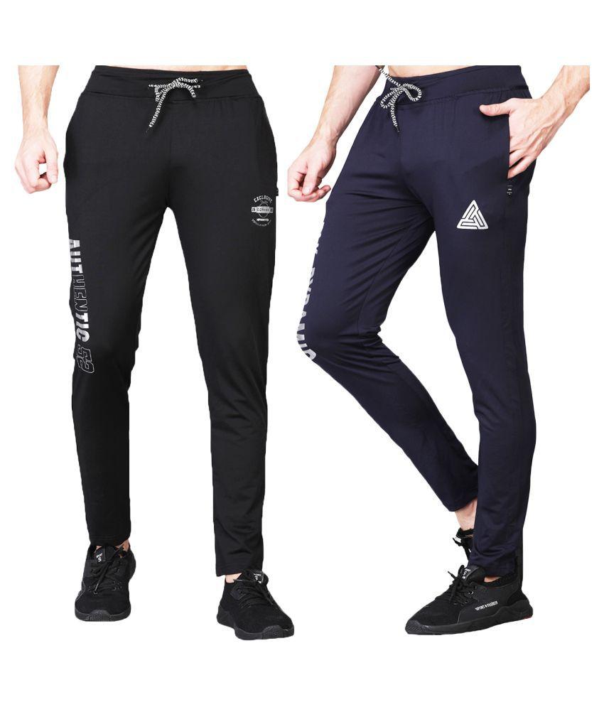 White Moon Dryfit Lycra polyester Black&Navy Trackpants For Men's (Pack of 2)