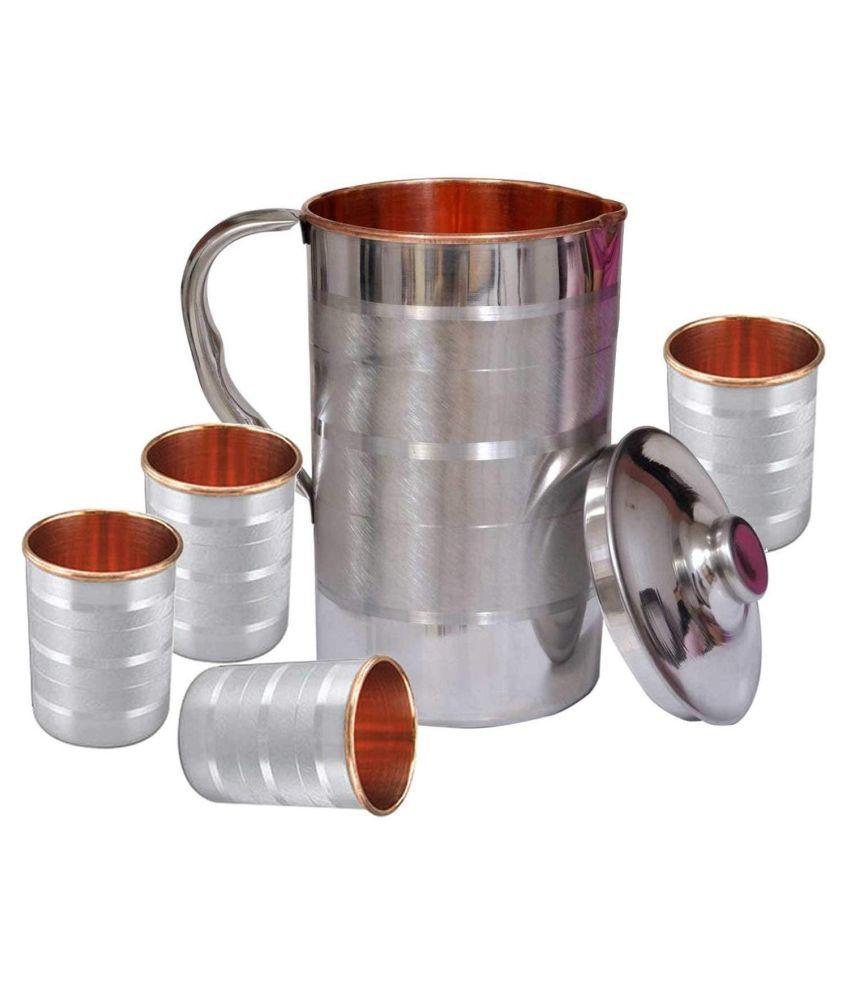 Raghav Steel Copper 1600 ml Jug  amp; Glass Sets
