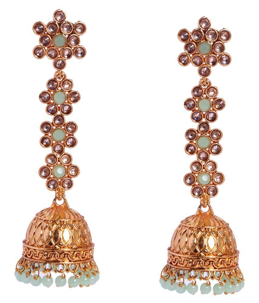Adorn Ethnic Gold Plated Jhumki Earring For Women Zinc Jhumki Earring
