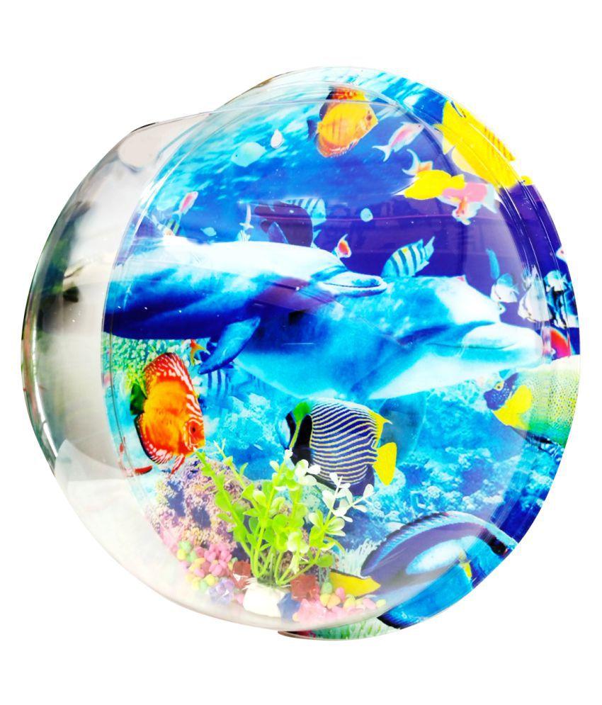 Emily PetsWall Mounted Hanging Fish Tank Decor, driew Clear Acrylic Bubble Hanging Fish Tank Bowl Round Vase Flower Plant Pot Betta Aquarium (Large)