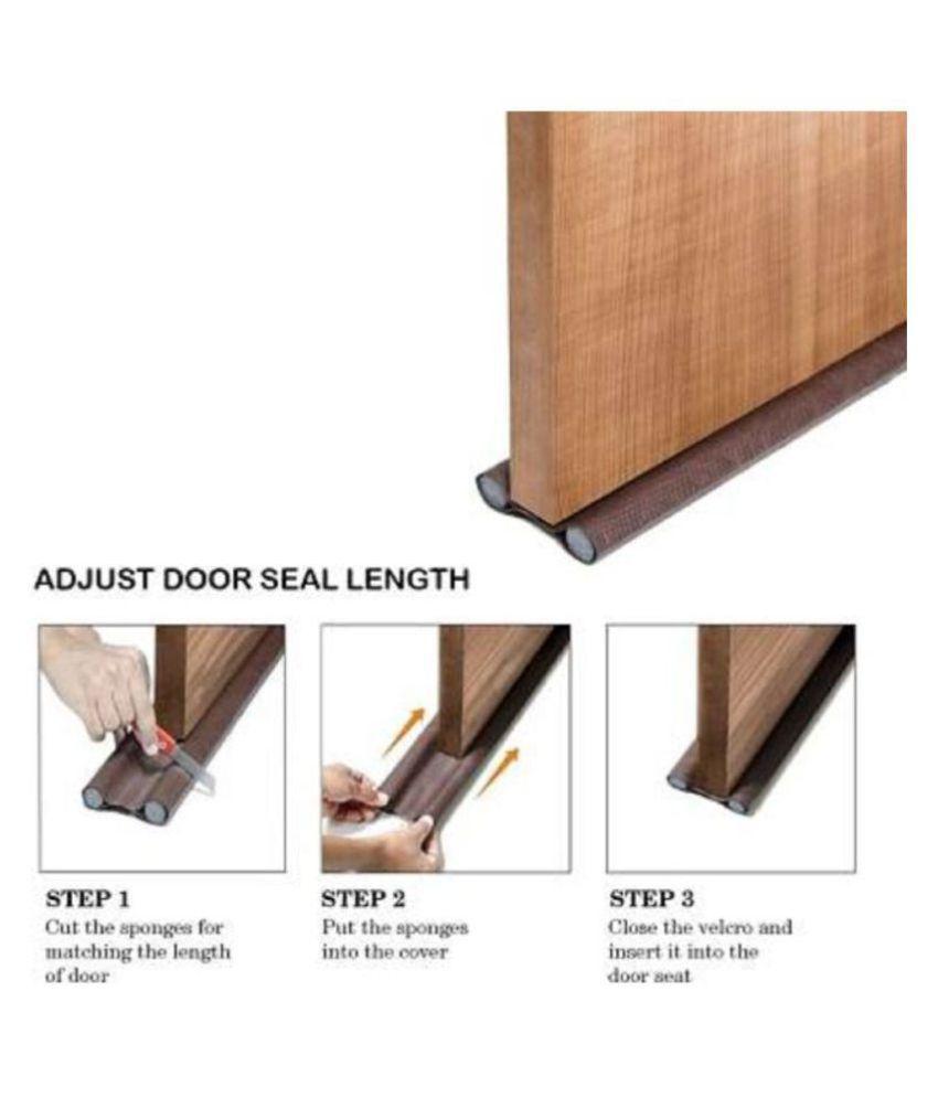 Smart Energy Saver Twin Under Door Draft Fabric Guard Cover Stopper Gap Sealer - Stops Light/Dust/Cool Air Escape Door Mounted Door Stopper  (Brown) (Pack of 2)