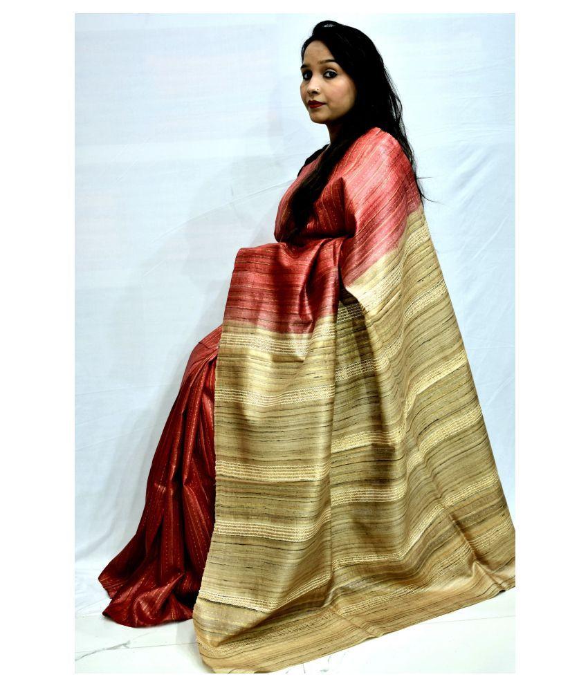 MOHEY DESI Red Tussar Silk Saree - Single