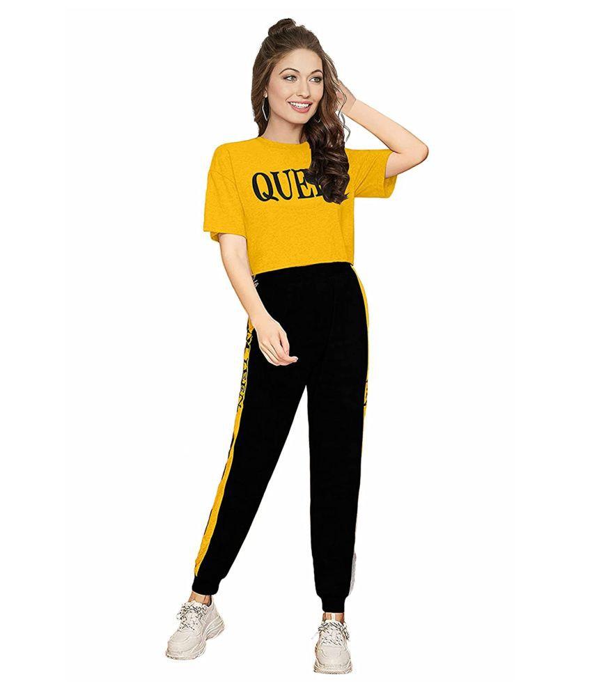 Shoppersmart Yellow,Black Cotton Solid Tracksuit - Single