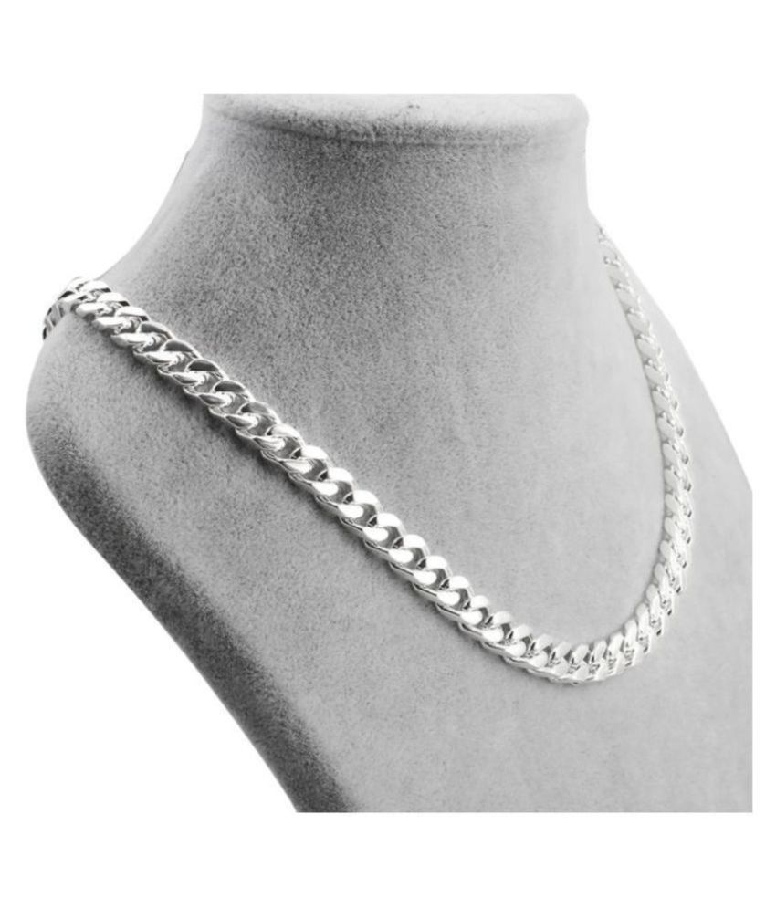 Vaiseema Stainless Steel Necklace Thick Chain / Locket Jewellery / Ball Chain Sterling Silver Plated Steel Chain
