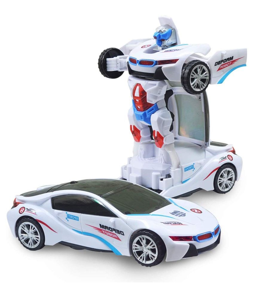 Deform Robot Car for Kids, Bump & Go Action 2 in 1 Toy with Lights and Music Transform Car Toy, Battery Operated