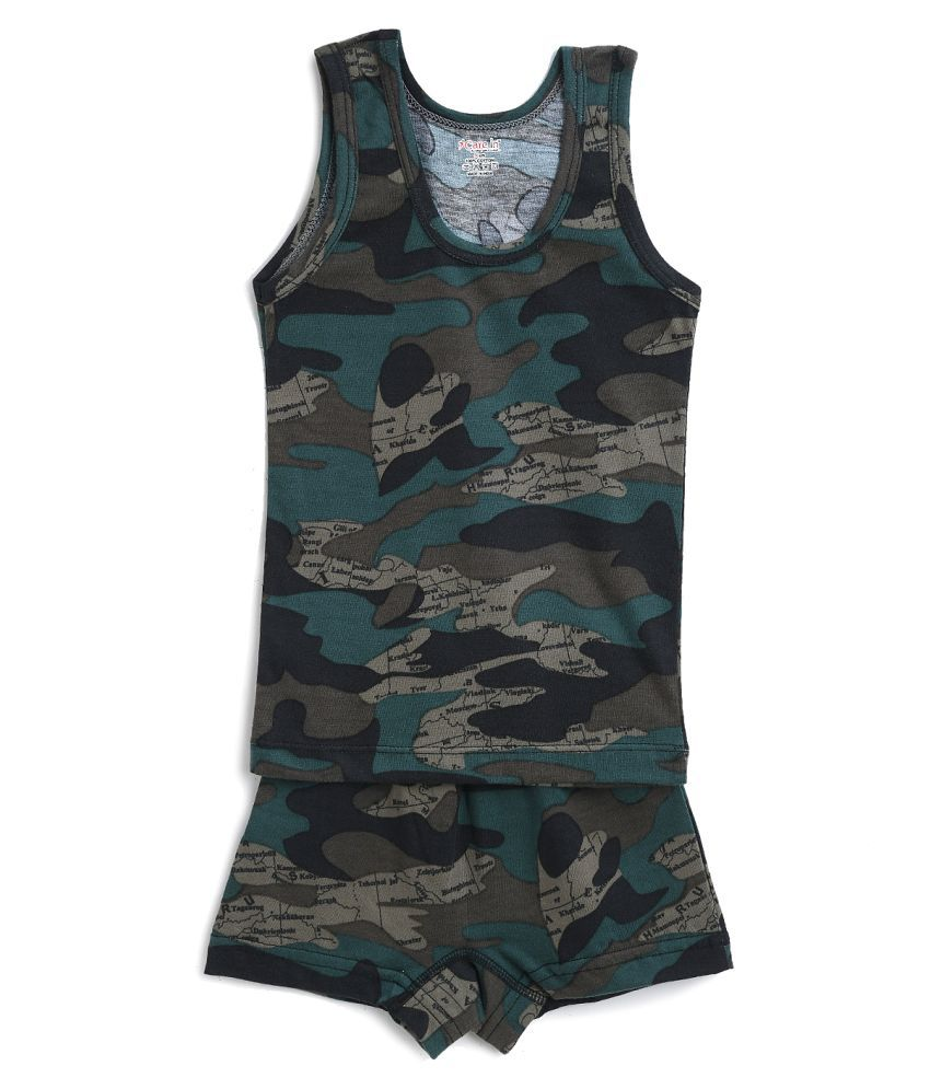 Care in Military Printed Round Neck Cotton Green Color Sando Vest and Short Set for Boys and Kids