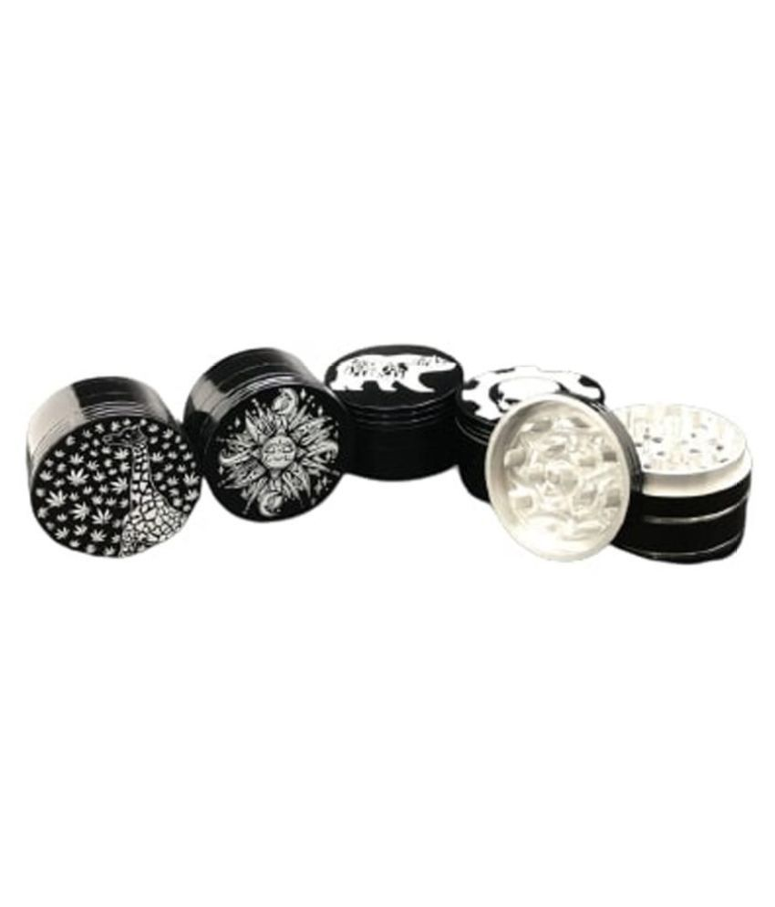 Farman Handicrafts Mix Black Color Printing Crusher Herb Grinder (Small, 42MM), Pack of 1