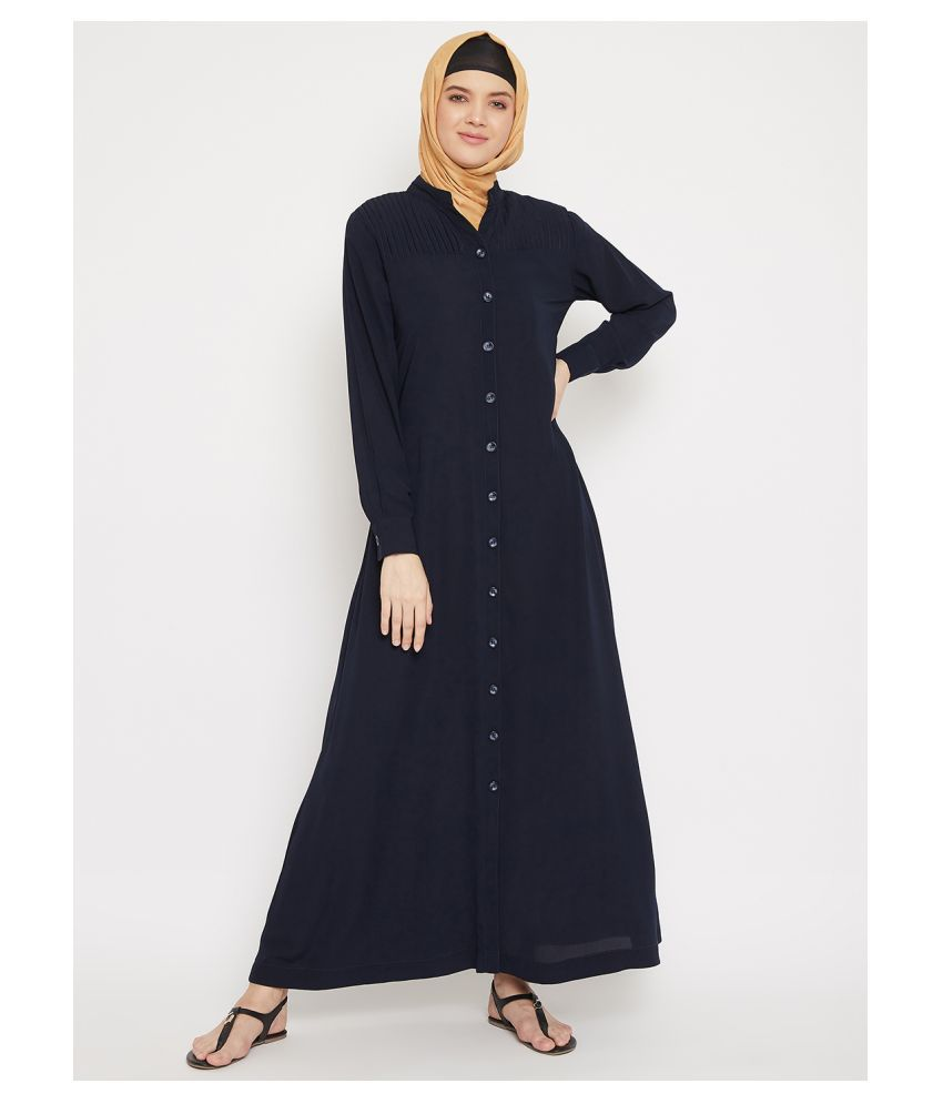 Momin Libas Blue Polyester Stitched Burqas without Hijab - Single