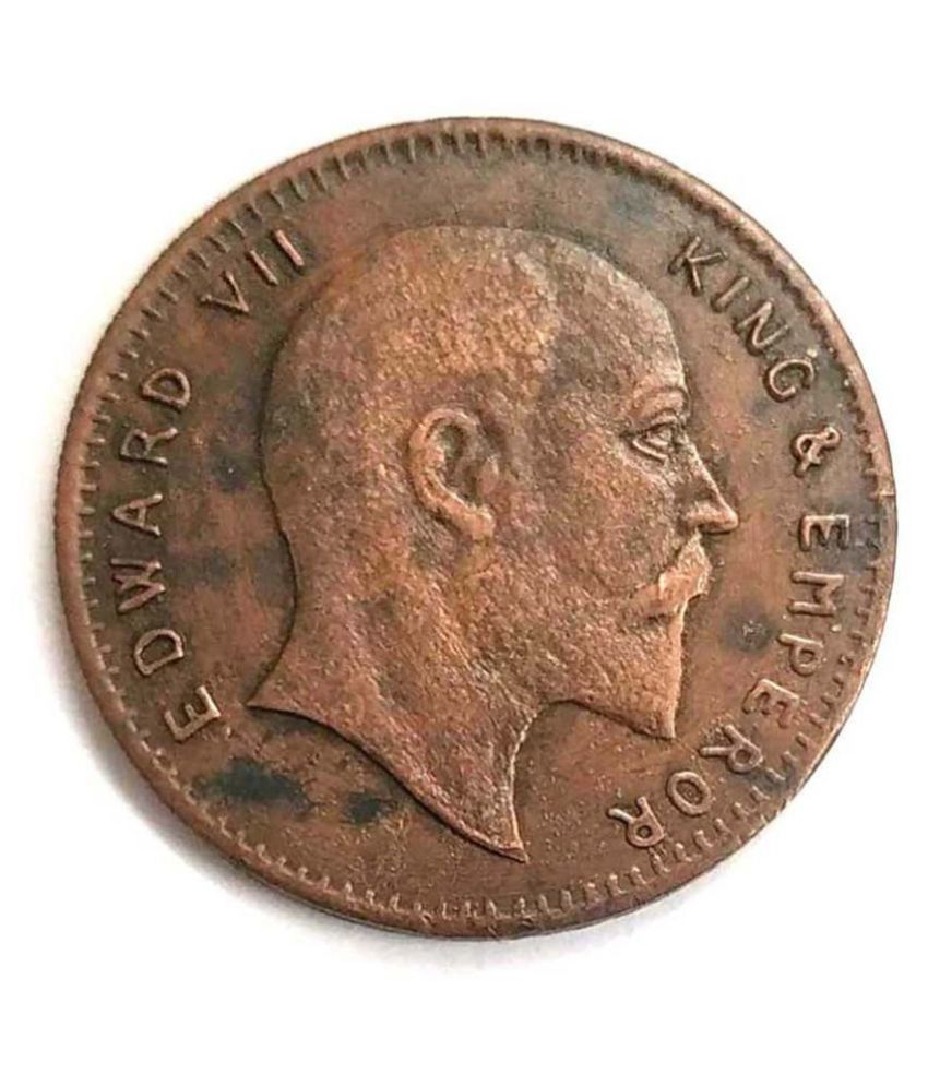 E.I.C. UK One Anna Big Copper Coin Edward  VII King & Emperor Year 1818 Weight 50 Gram