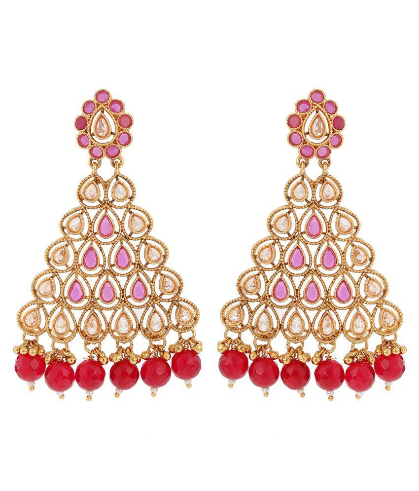 Stefan Traditional Ethnic Kundan Dangler Earrings for Women CJ100268