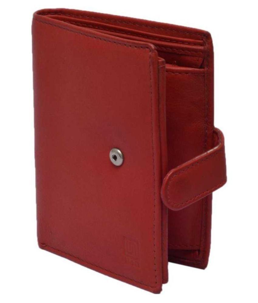 U+N Leather Red Formal Regular Wallet