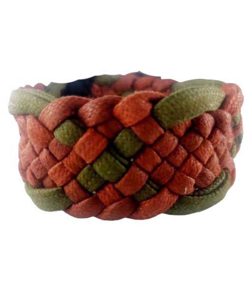 Leather bracelet Febric bracelet ; Boys Tan*Handcrafted; Wrist Band Velcro Bracelet