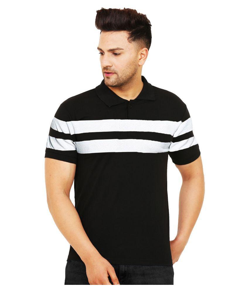 Leotude Cotton Blend Black Color Block Polo T Shirt