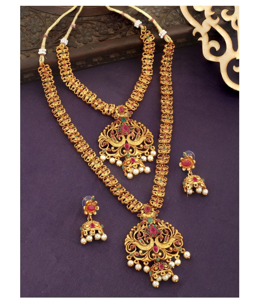 Spargz Alloy Golden Traditional Necklace set Combo Matinee