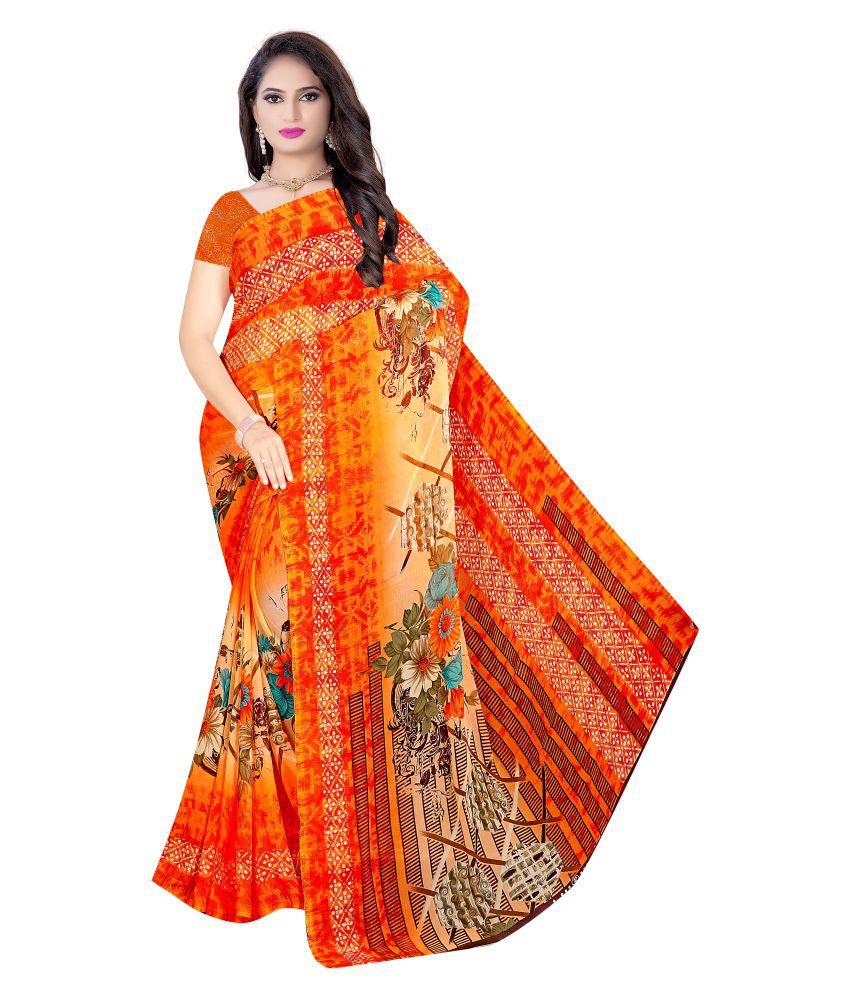 Vinner Orange Georgette Saree -