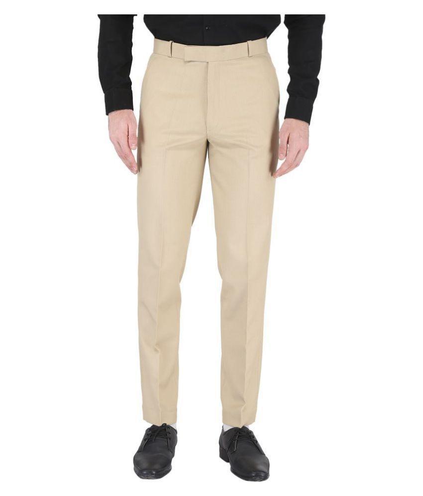 K.S.BRAND Cream Regular -Fit Trousers