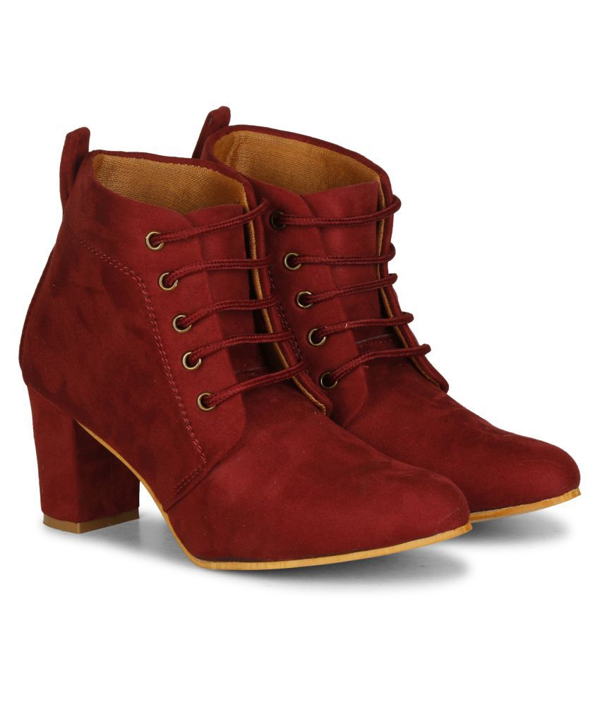 Saheb Maroon Ankle Length Casual Boots