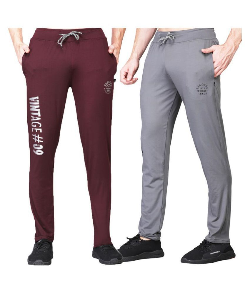 White Moon Dryfit Lycra polyester Mehroon&Grey Trackpants For Men's (Pack of 2)