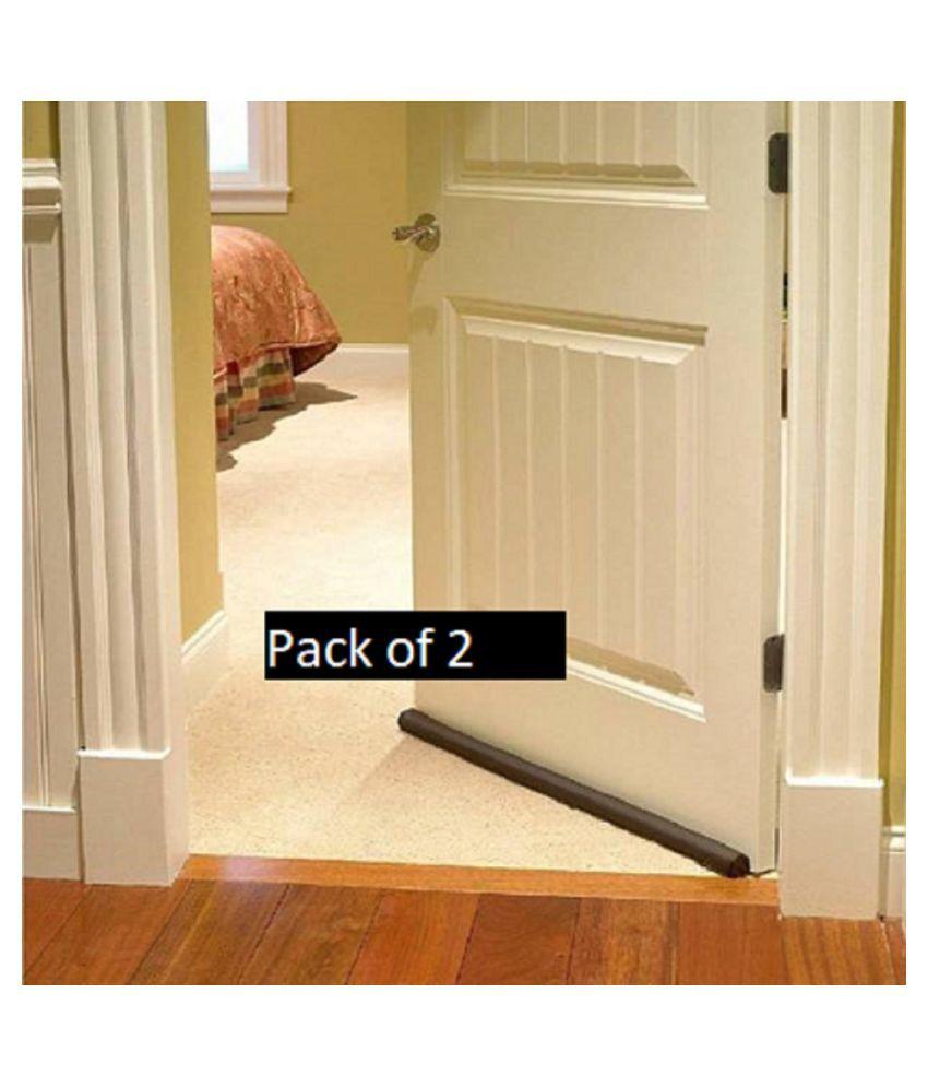 Pack of 2) Door Seal Twin Draught Draft Guard Door Closer Bottom Brown Sealing Strip Adjustable Door Draft Blocker Insulator Isolation The Light Washable (36 Inch) Door Mounted Door Stopper Door Mounted Door Stopper  (Brown)