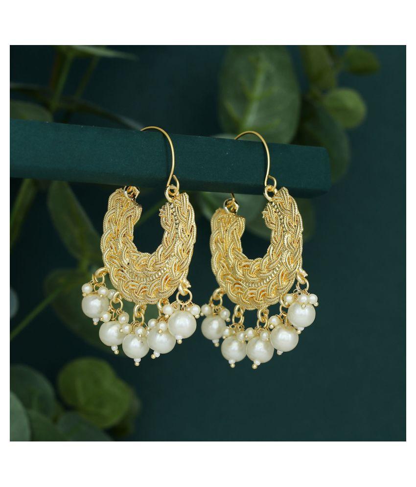 Sukkhi Classic Gold Plated Pearl Chandbali Earring for Women
