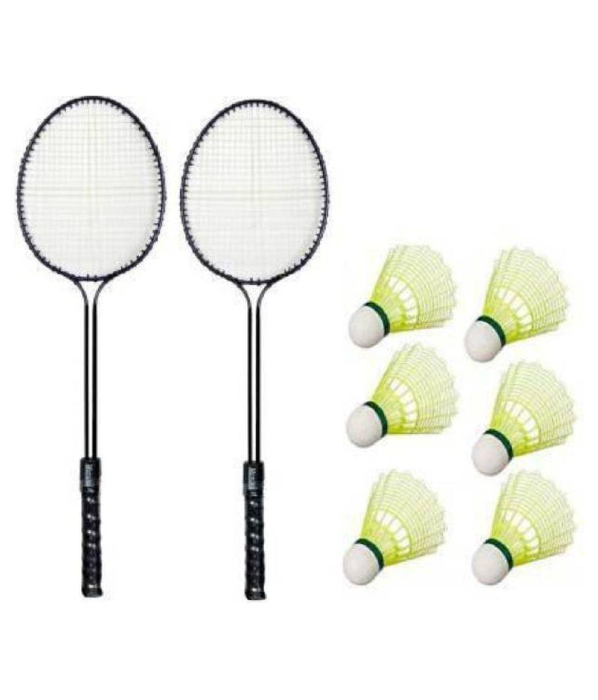A1VK Badminton Set Of 2 Piece Racquet with 6 Piece Plastic Shuttle Badminton Kit Yellow Strung Badminton Racquet (Pack of: 1, 95 g)