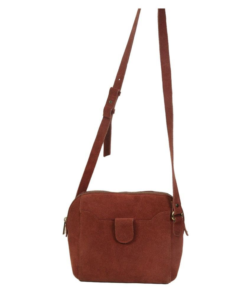 NOW COLLECTION Brown Leather College Bag