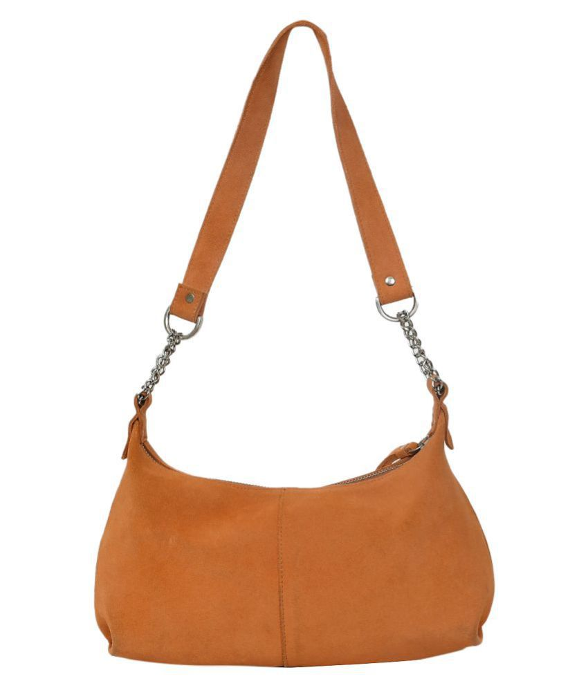 NOW COLLECTION Orange Leather College Bag
