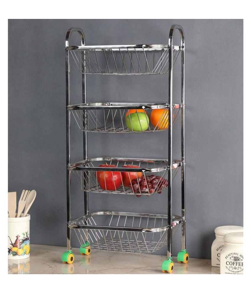 JISUN Multipurpose Mirror Finish 4 Shelves Fruit/Vegetable Stainless Steel Kitchen Trolley  (DIY(Do-It-Yourself))