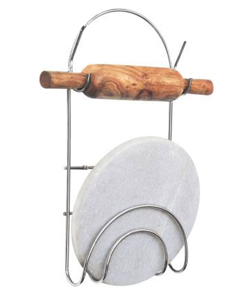 JISUN Stainless Steel Chakla Belan Stand with Rolling pin holder Kitchen Rack