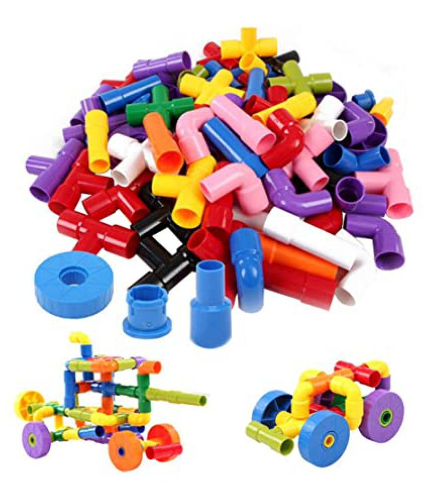 AdiChai Multi Coloured Educational Play and Learn Plastic Building Block Set Pipes Puzzle Set   Blocks for Kids   56 Pipes     Blocks Toys and Games f