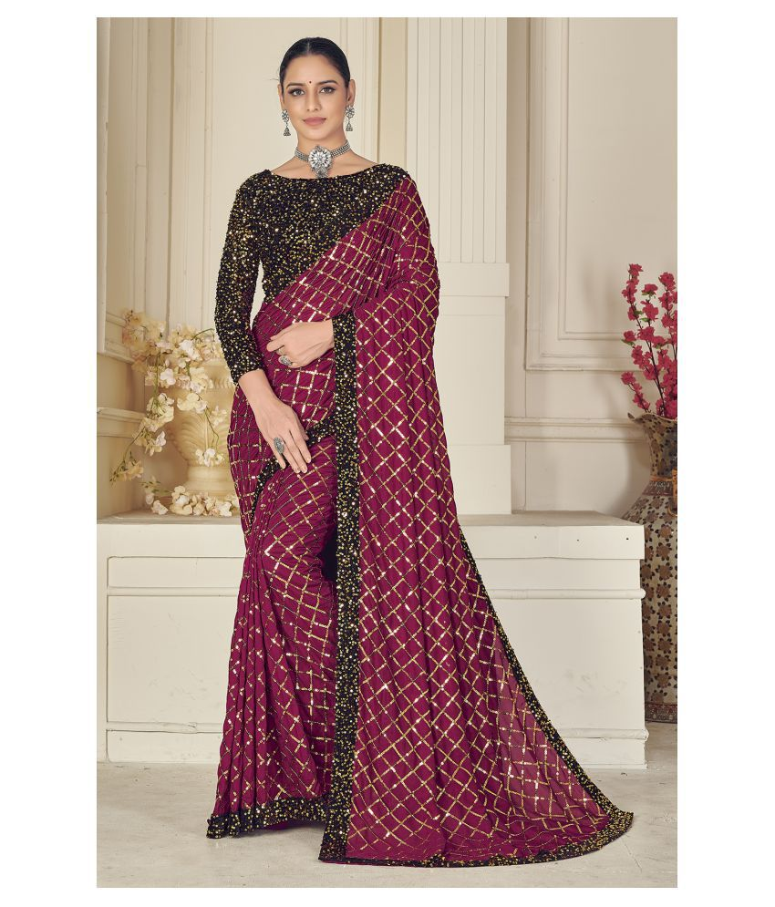 Hirvanti Fashion Purple Silk Blends Saree