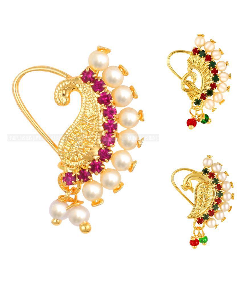 Vighnaharta Piercing Gold Plated Mayur design with Pearls and AD Stone Alloy Maharashtrian Nath Nathiya./ Nose Pin combo for women VFJ1015-1009-1012NTH-Tar