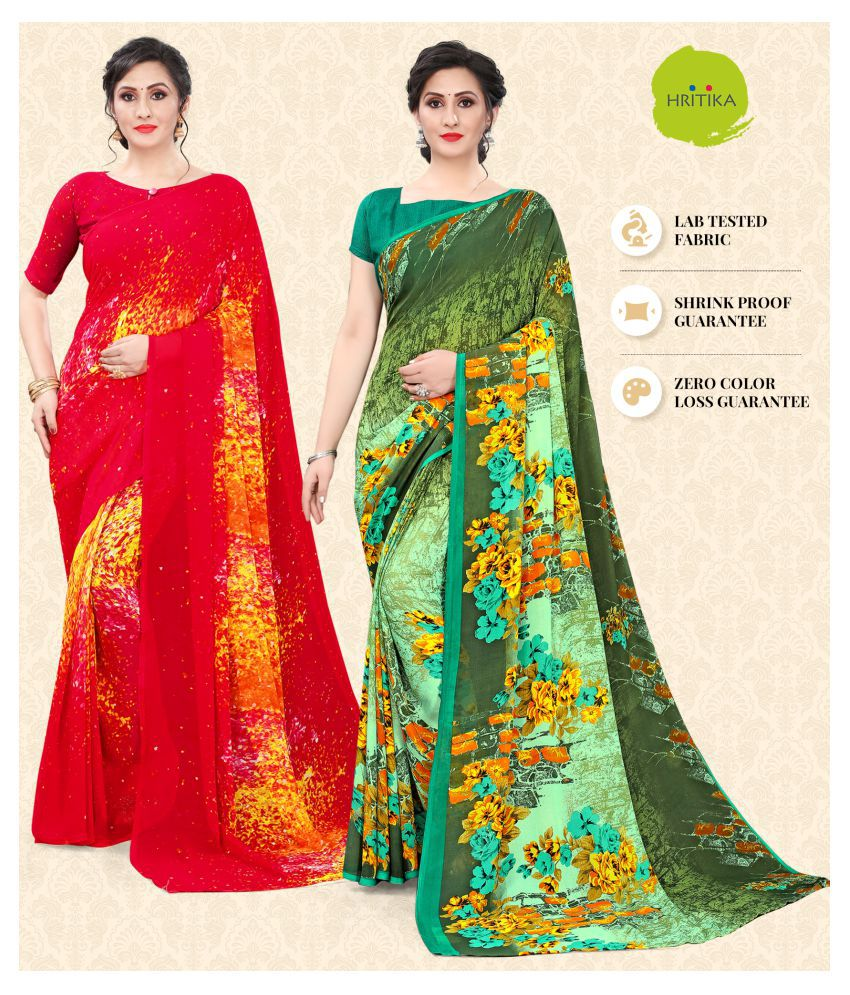 Hritika Red Georgette Saree - Pack of 2