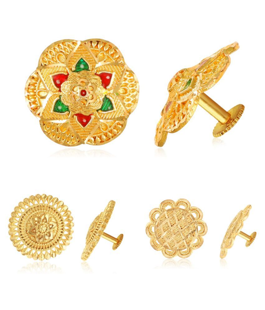Vighnaharta Sizzling Graceful Alloy Gold Plated Stud and Bali Earring Combo set For Women and Girls  Pack of- 3 Pair Earrings VFJ1346-1313-1311ERG