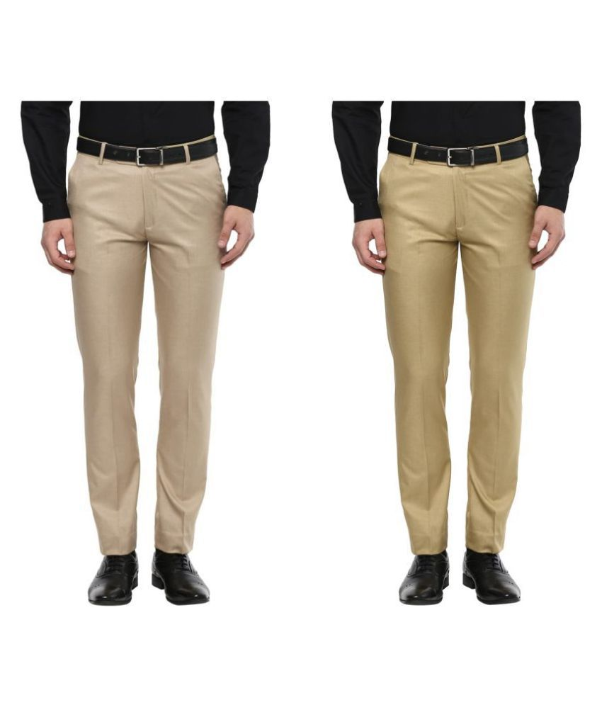 Inspire Clothing Inspiration Multicolored Slim -Fit Flat Trousers Pack of 2