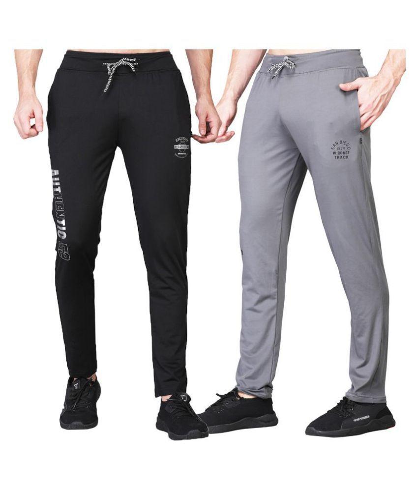 White Moon Dryfit Lycra polyester Black&Grey Trackpants For Men's (Pack of 2)